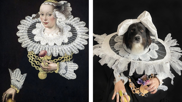 Eliza Reinhardt's re-imagined version of the 1642 Portrait of Anna Rosina Marquart, by Michael Conrad Hirt