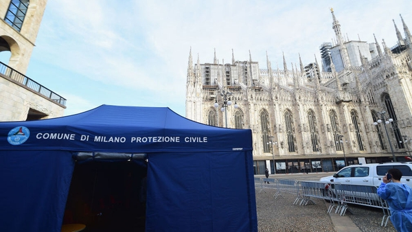 A civil protection tent in front of Milan Cathedral to vaccinate people over 65 for flu