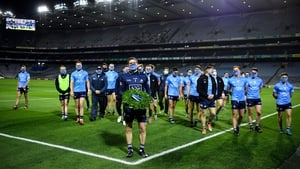 Dublin players mark the Bloody Sunday commemoration at Croke Park following their landslide Leinster football final victory over Meath