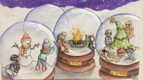 12-year-old Abby O'Reilly from Dublin drew a wonderful picture of different families in their social bubbles within snow globes
