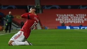 Bruno Fernandes celebrates the opening goal at Old Trafford
