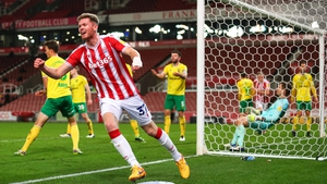 Nathan Collins celebrates getting on the score-sheet for Stoke City