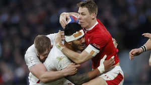 Liam Williams crashes into Manu Tuilagi and George Kruis during last March's Six Nations clash
