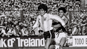 The 18-year-old Maradona in action against Chris Hughton during an international friendly against the Republic of Ireland at Lansdowne Road in 1980