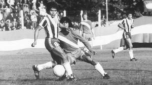 A 15-year-old Maradona nutmegs Juan Cabrera of Talleres de Cordoba on his Argentine Primera Division debut for Argentinos Juniors in 1976
