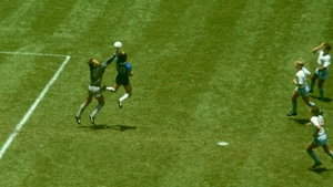 The 'Hand of God' moment at the '86 World Cup