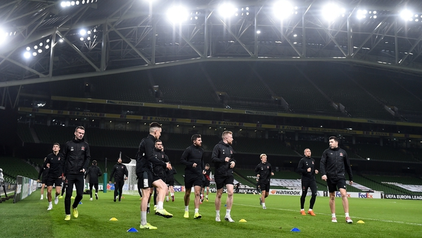 Dundalk train at the Aviva Stadium ahead of their clash with Rapid Vienna