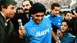 Diego Maradona is interviewed after the Serie A match between Napoli and AC Milan on 27 November, 1988