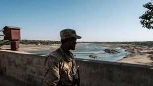 An Ethiopian soldier on watch at a border crossing with Eritrea