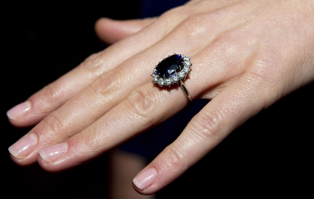 Duchess of Cambridge wearing her engagement ring