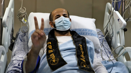 Palestinian detainee Maher al-Akhras arrives at al-Najah Hospital in the West Bank city of Nablus following his release by Israeli authorities