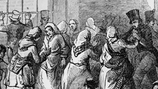 Detail of a depiction of crowds gathered to buy Indian corn in Cork, from the Illustrated London News, 4th April 1846. (Source: Illustrated London News/Hulton Archive/Getty Images)