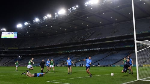 Dublin goalkeeper Stephen Cluxton saves a shot at goal by Joey Wallace of Meath during the 2020 Leinster SFC final