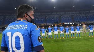 Napoli manager Gennaro Gattuso wears a number 10 Maradona shirt