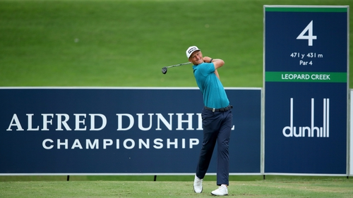 Adrian Meronk tess off at the fourth hole during his second round at the Alfred Dunhill Championship