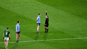 Cormac Costello shown a red card by referee Derek O'Mahony during the Leinster SFC final defeat of Meath