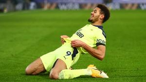 Joelinton celebrates his goal against Crystal Palace