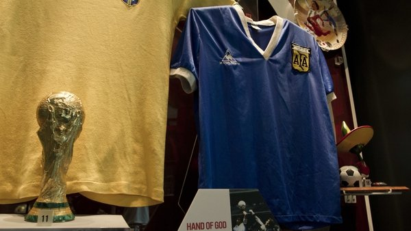 Maradona's 'Hand of God' shirt on display at the UK's National Football Museum in Manchester