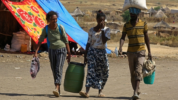 Ethiopian refugees at the Sudanese border after fleeing the Tigray conflict