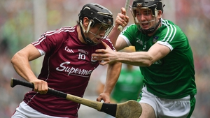 Joseph Cooney of Galway is tackled by Limerick's Declan Hannon during the 2018 All-Ireland final
