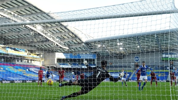 Pascal Gross scores a late penalty for Brighton