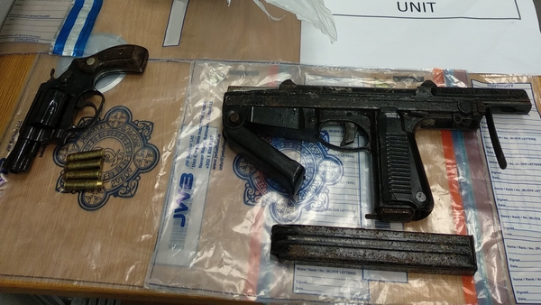 Gardaí discovered two firearms and cocaine and cannabis worth €100,000 during the search