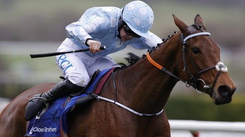 Rachael Blackmore drives Honeysuckle home to win the Mares Hurdle at Cheltenham.