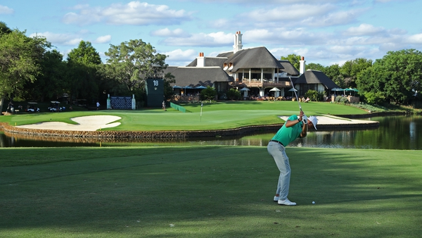 Adrian Meronk plays his approach shot into the 18th