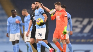 Riyad Mahrez leaves the Etihad Stadium with the match ball after the 5-0 victory over Burnley