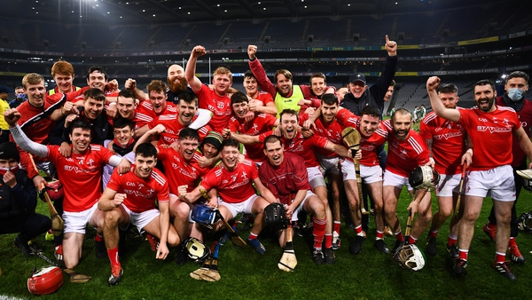 Louth players celebrate victory in the Lory Meagher Cup final