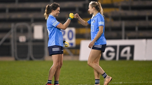 Dublin players Noëlle Healy, left, and Nicole Owens celebrate victory over Armagh