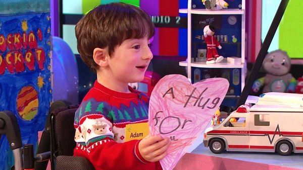 Adam King shows Late Late Toy Show host Ryan Tubridy his 'virtual hug'
