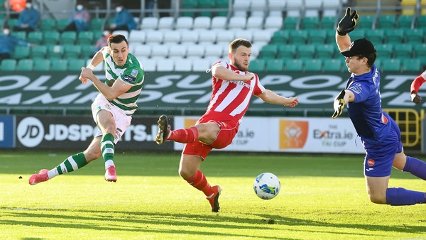 Aaron McEneff slams the ball home for the opening goal at Tallaght