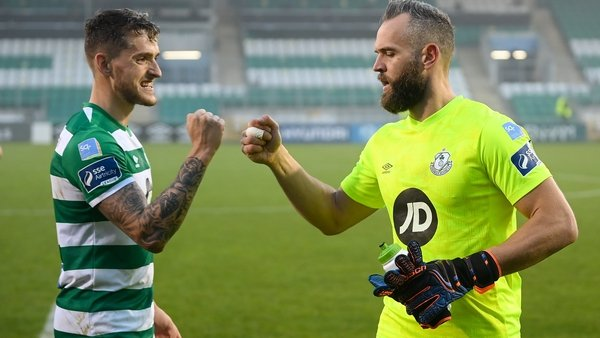 Alan Mannus, right, and Lee Grace celebrate the win over Sligo Rovers