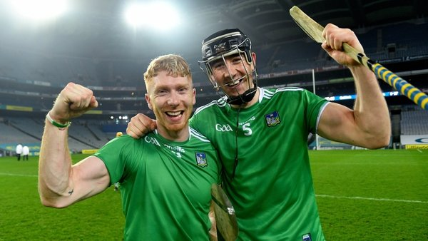Cian Lynch and Diarmaid Byrnes celebrate the win over Galway