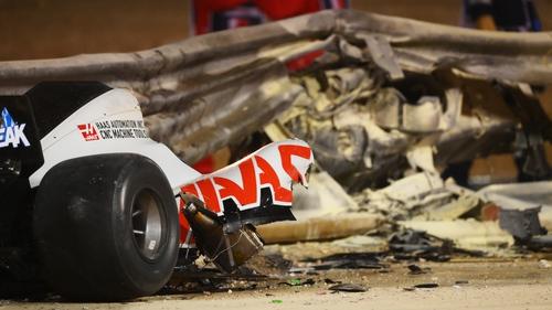 Debris following the crash of Romain Grosjean