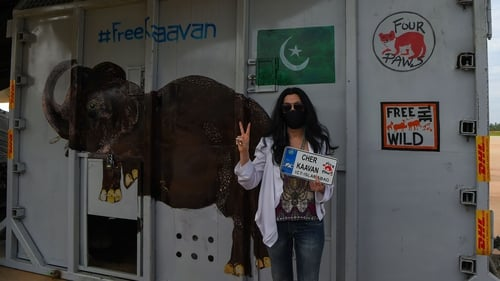Cher poses alongside the crate used to transport Kaavan to his new home in Cambodia