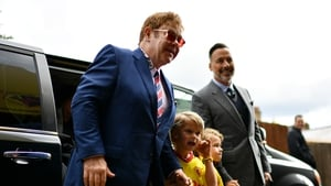 Elton John and David Furnish and their two boys arriving for a Watford versus Manchester City encounter in 2017