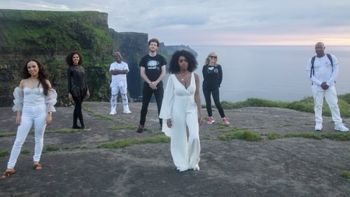 Brídín, Ruth Charles, Murli, DJ Replay, Denise Chaila, Sharon Shannon, Godknows at the Cliffs of Moher. Photo credit: Donal H Murphy