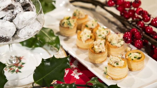 Crab vol au vents with apple and wasabi
