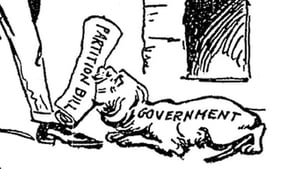 A cartoon showing Lloyd George bringing the partition bill to Carson