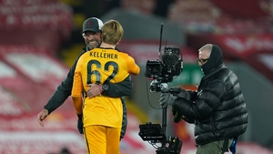 Jurgen Klopp with Irish goalkeeper Caoimhin Kelleher who has started the last two Liverpool games