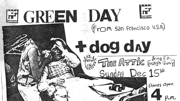 The flyer for Green Day's semi-legendary, pre-fame gig at The Attic in Dublin in December, 1991