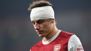 David Luiz played on against Wolves with a bandaged head