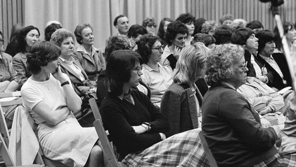 Reaction in 1973 to the publication of a report by the first Commission on the Status of Women in Ireland. Photo: RTÉ Stills Library