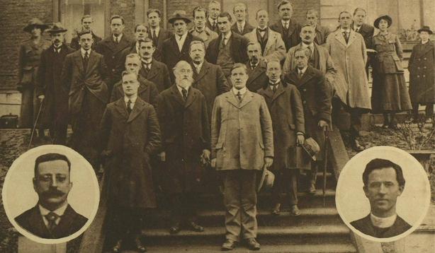 Members of Dáil Éireann with Arthur Griffith (L) and Fr Michael Flanagan (R) inset Photo: Illustrated London News [London, England], 11 December 1920