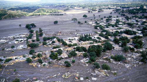 The town of Armero, Colombia after the eruption of Nevado del Ruiz in November 1985. Photo: Jacques Langevin/Sygma/Sygma via Getty Images