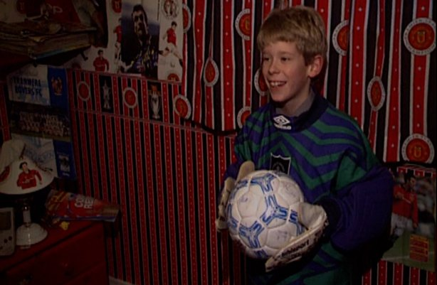 James Eager in Alan Kelly's jersey and gloves (1995)