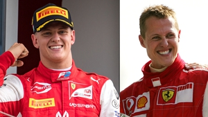 Michael Schumacher (R) pictured in 2006 and his son Mick last year
