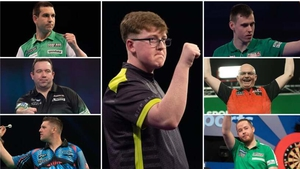 From top left clockwise: Willie O'Connor, Keane Barry, Ciaran Teehan, Mickey Mansell, Steve Lennon, Daryl Gurney, Brendan Dolan